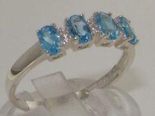 10ct White Gold Natural Blue Topaz & Diamond Womens Modern Ring - Sizes J to Z