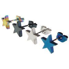 2 Pairs STAR Stud Earrings Rainbow Blue Black Silver Stainless Steel Earring UK