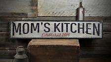 Mom's Kitchen, Custom Established Date - Rustic Distressed Wood Sign ENS1001459