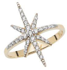 Star Ring Ladies Yellow Gold Star Ring Hallmarked Dress Cocktail Ring Size M - R