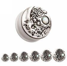 Tribal Opal Mandala Ear Plug Moon Stars Steel Sun Cute Indian Piercing Gauge 4JB