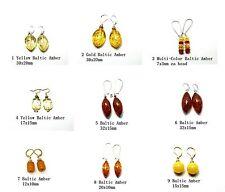 Handmade Silver & Rhodium Plated Baltic Amber Drop Dangle Earrings
