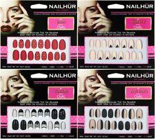 Nailhur Oval Designs #2 - Reusable Fake Press Glue On Nails Tips Red Tan Black