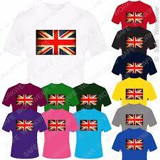 Children Vintage Union Jack T Shirt - D10 Great Britain UK Flag Unisex Kids Size