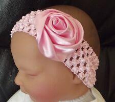 BABY/CHILD/REBORN DOLL SATIN ROSE CROCHET HEADBAND VARIOUS
