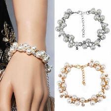 Moda Mujeres Perla Cristal Estrás pulsera con dijes brazalete brazalete joyería regalo