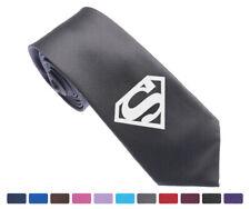 """K6 DC Super Hero Superman Logo Multi Colors Skinny Slim Jacquard Woven 2.5"""" Tie"""
