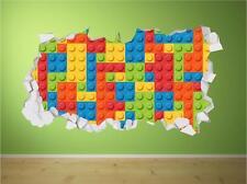 Lego Bricks Crumbled Wall Art Sticker Decal Kids Full Colour Print Transfer