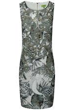 K-design Women's Palm Leaf Print Embellished Sleeveless Dress - Multi