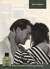 PUBLICITE ADVERTISING 1982    PACO RABANNE    pafum pour HOMME