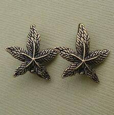 10pcs-Pendant Link Connector Leaf Antique Bronze Charm.