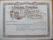 1880 Stock Certificate-Mineral Springs-Denver, Colorado