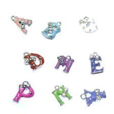 5 Pcs 12mm Letter Alloy Enamel Charm Pendants - Variety of Alphabet Mixed Colour