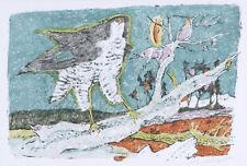 """CARIGIET ALOIS """"Falke"""" 1978 handsignierte Originallithografie mit Originalrahmen"""