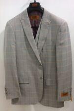 Mens Steven Land 3 PC Suit Windowpane Vested light Grey/Lav/Tan  Riley SL77-259