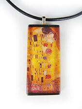 Gustav Klimt's The Kiss Glass Tile Pendant With Necklace