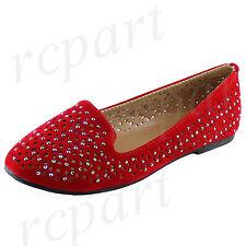 New girl's kids slip on flats red casual summer flower girl formal synthetic