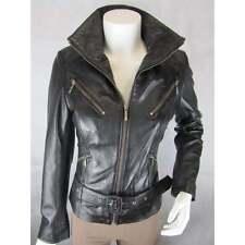 Ladies Black Napa Leather Slim Tight Fitted Short Biker Rock Bike Jacket