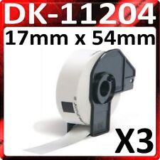 3 x Rollen 17 mm 54mm DK11204 QL500 QL 550 560 570 1050 1060N DK-11204 Etiketten
