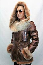 COGNAC 100% Long Hair Toscana Sheepskin Shearling Leather Jacket Coat Hood S-6XL