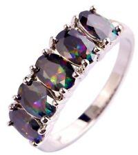 DAMEN MYSTIC Regenbogen Sapphire 925 versilbert Ring FingerModeschmuck (14)