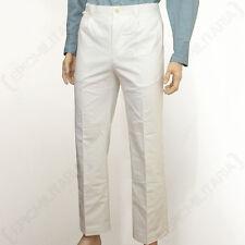 WW2 German White Trousers - Repro Military Luftwaffe Pants Uniform Cotton New