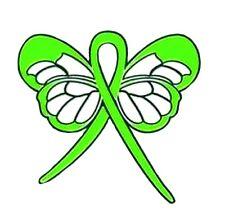 Lime Green Awareness Pin Ribbon Butterfly Muscular Dystropy Lymphoma Sandhoff