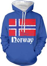 Norway Flag Distressed Old Font Norwegian Country NOR Two Tone Hoodie Sweatshirt