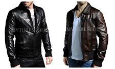 Mens Biker Motorcycle Vintage BLACK & BROWN Bomber Winter Leather Jacket