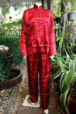Asia kung-fu, tai-chi, wu shu, China/Japón Shaolin traje de seda rojo talla M-XXXL