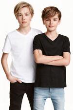 Boy's Kids EX h&m col V tshirts in Organic 100% Coton Uni Couleur Unie Jersey