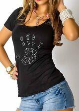 Sexy MiSS Damen Glamour Shirt Strass Hand Top S/M 34/36 M/L 36/38 schwarz NEU