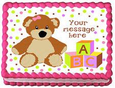 TEDDY BEAR Baby shower GIRLS Image Edible cake topper decoration