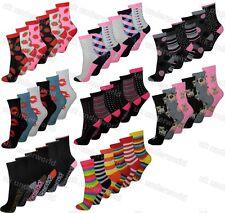 3 Pairs Womens Ladies Funky Coloured Design Socks Designer Adults 4-6.5