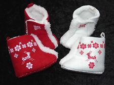 Babyschuhe Schuhe Winterschuhe Winterstiefel Rentier 0- 3- 6- 12 Mon rot creme B