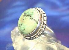 Groß Handarbeit Ring Silber Türkis Gr 55 56 57 58 Silberring Antik Kordel Kugel