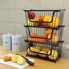 STORAGE STACKING WIRE BASKET STACKABLE SHELVES VEGETABLE FOOD KITCHEN RACK STAND