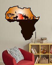 Wall Decals African Safari Full Color Murals Animals Jungle Map Nursery Art EN28