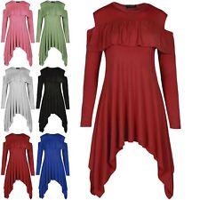 Womens Peplum Frill Ladies Cold Cut Shoulder Hanky Plain Flared Swing Dress Top