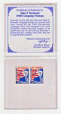 J.F. KENNEDY 1960 Campaign Stamps w/ COA  MNH