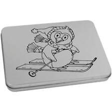 'Skiing Penguin' Metal Hinged Tin / Storage Box (vTT0012642)