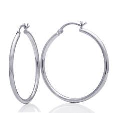 Women 14K White Gold 2mm width Plain Gold Hollow Round Tube Hoop Earrings
