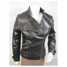 Ladies D Brown Rub Off Leather Slim Tight Fitted Short Biker Fashion Bike Jacket