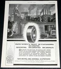 1919 OLD MAGAZINE PRINT AD, AHLBERG BEARINGS, INDUSTRIAL ART!