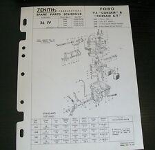 FORD V4 CORSAIR Corsair GT ZENITH 36 IV PER CARBURATORI elenco parti di ricambio.