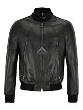 Men Bomber Leather Jacket Black Casual Tops Real Leather Harrington Jacket NV125