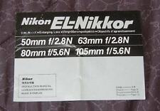 Nikon EL-Nikkor lenses 50-105mm instruction manual