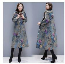 Women Floral Hooded Outwear Coat Full Long Winter Fur Brushed Warm Overcoat 2019