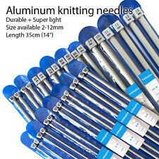 "A Pair of Aluminium Knitting Needles Set 16 Sizes 35cm(14"") 2-12mm Aluminum"