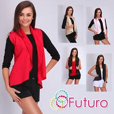 Womens Waterfall Waistcoat Faux Leather Blazer Jacket Cape Shrug Size 8-12 FA412